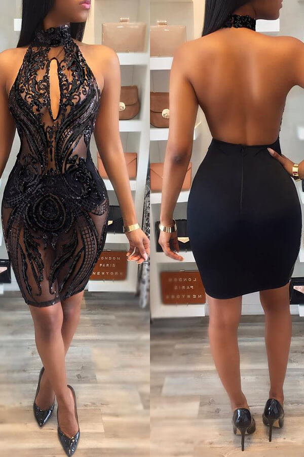 Lovely Sexy Backless Black Knee Length Prom Dress