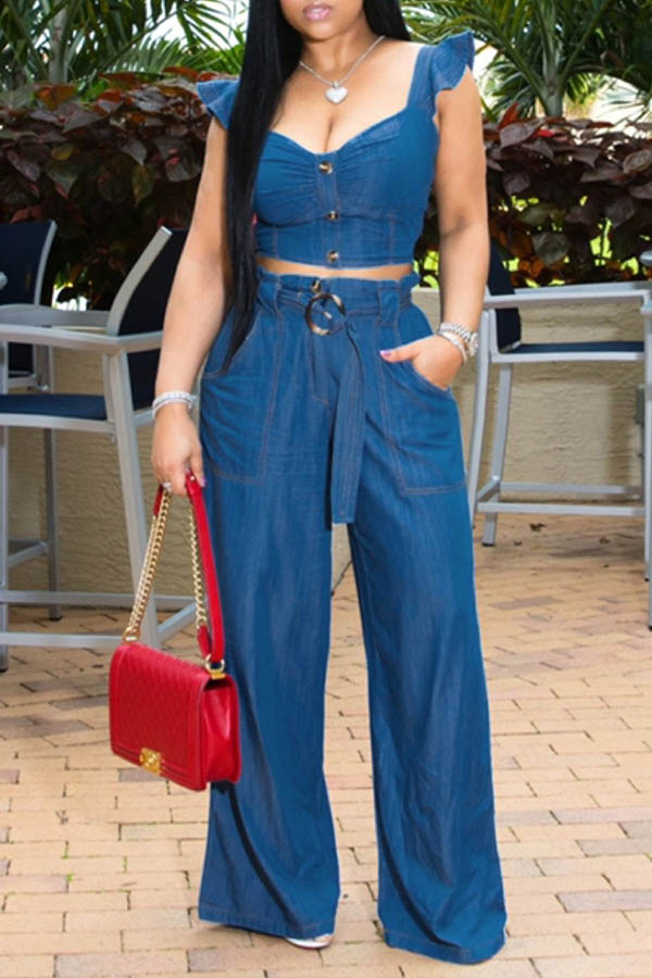 Lovely Casual Flounce Design Blue Two-piece Pants Set