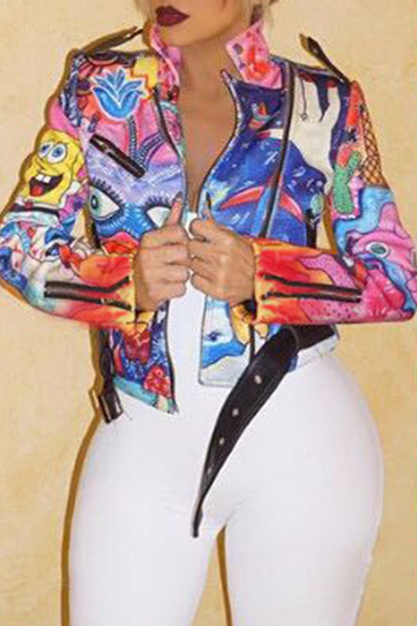 Lovely Casual Printed Multicolor Jacket