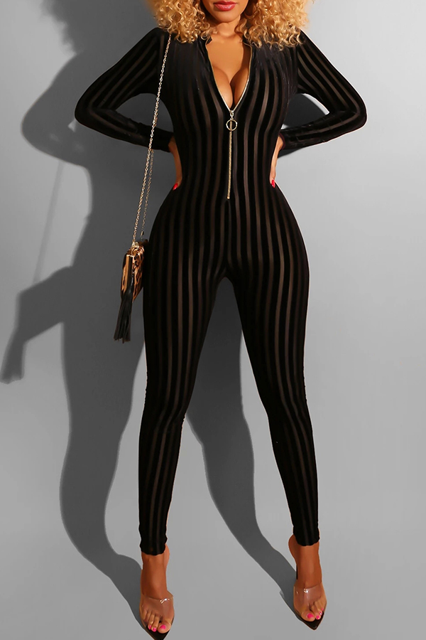 Lovely Casual Zipper Striped Black One-piece Jumpsuit