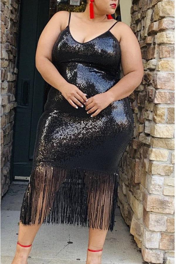 Lovely Party Tassel Design Black Mid Calf Plus Size Dress
