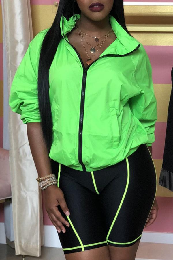 Lovely Casual Zipper Design Green Coat