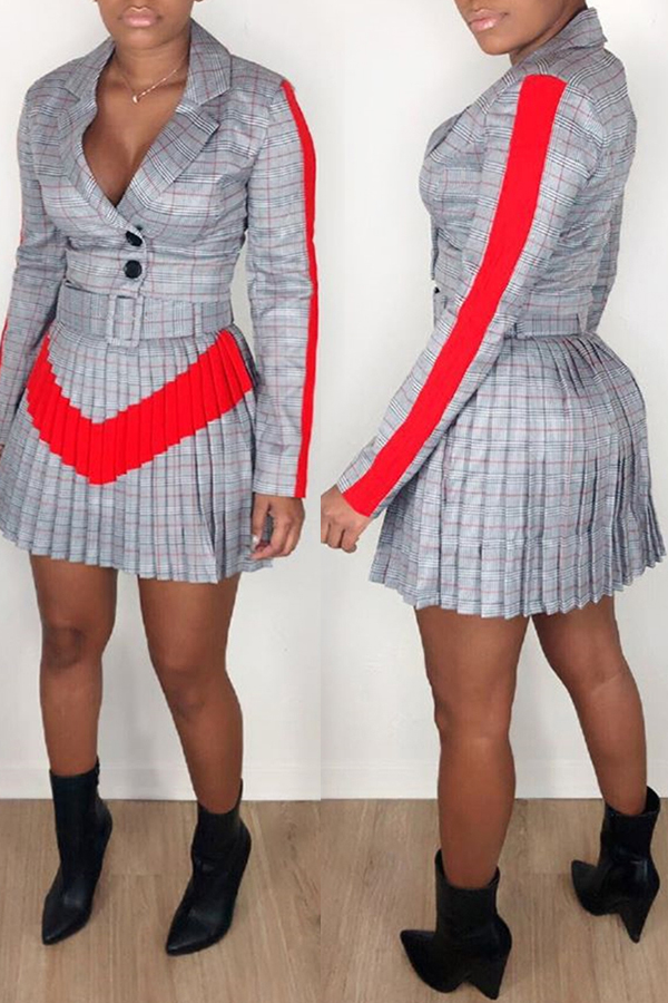 Lovely Work Plaid Printed Ruffle Design Grey Two-piece Skirt Set
