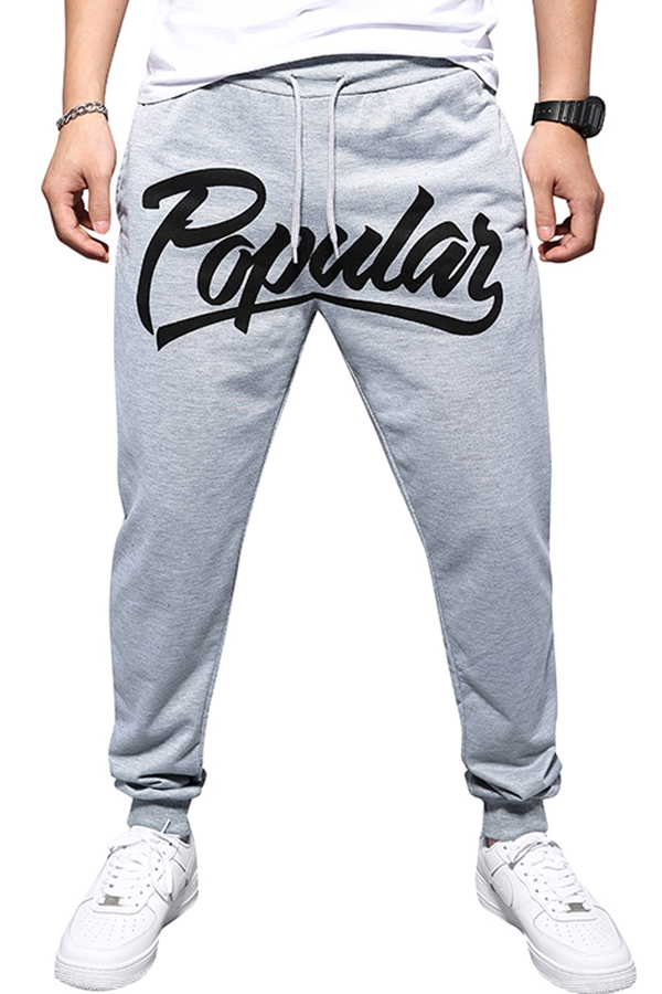Lovely Casual Letter Printed Grey Pants