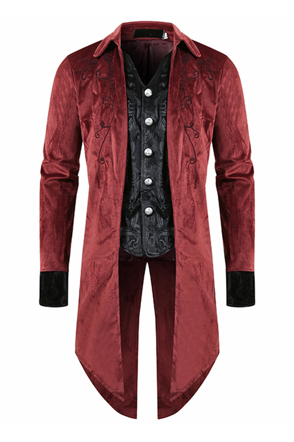 Lovely Casual Buttons Design Red Formal Wear