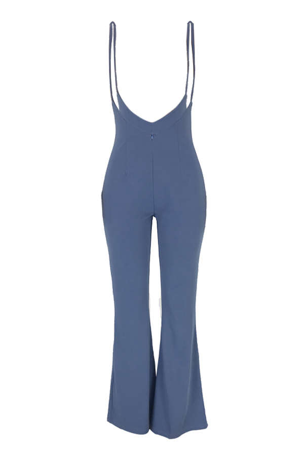 Lovely Trendy Zipper Design Blue One-piece Jumpsuit(Without T-shirt)