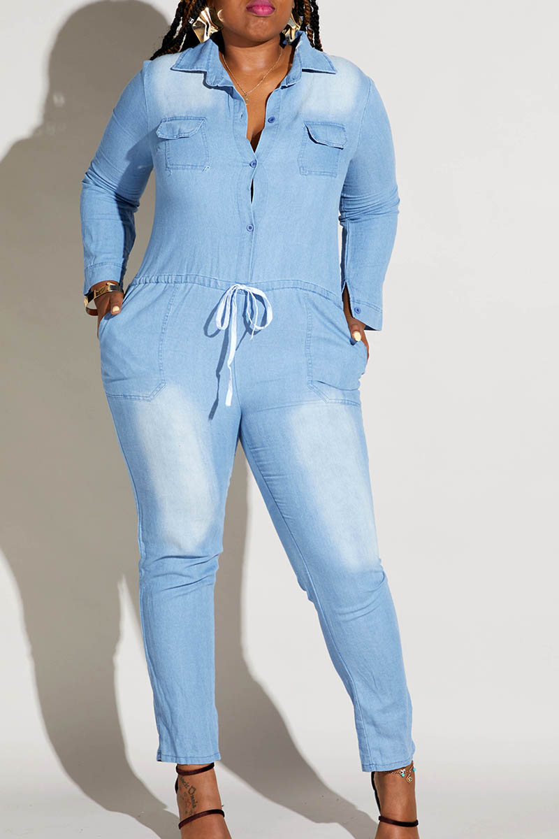 Lovely Casual Turndown Collar Blue Plus Size One-piece Jumpsuit