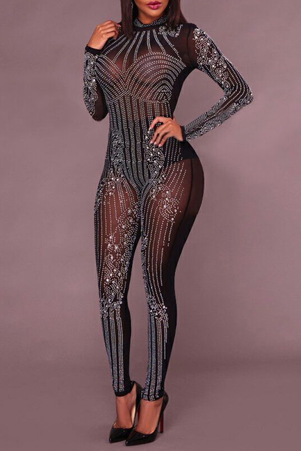 Lovely Sexy Hot Drilling Decorative Black One-piece Jumpsuit