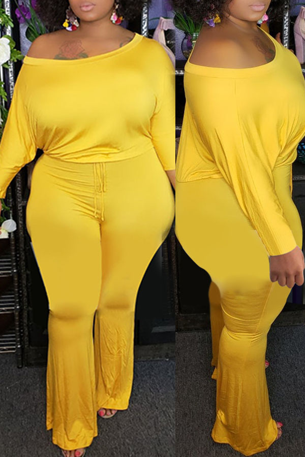 Lovely Trendy One Shoulder Yellow Plus Size One-piece Jumpsuit