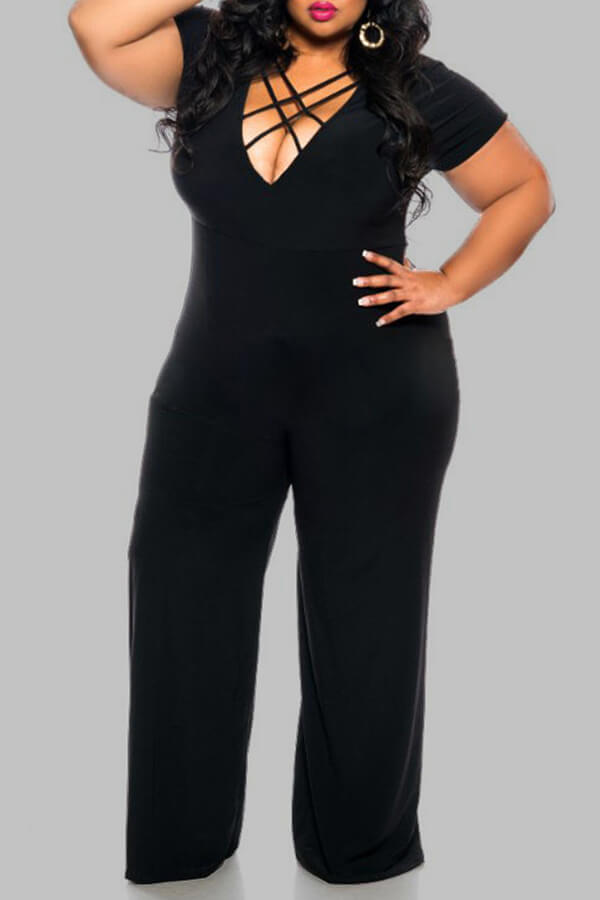 Lovely Work Loose Plus Size Black One-piece Jumpsuit