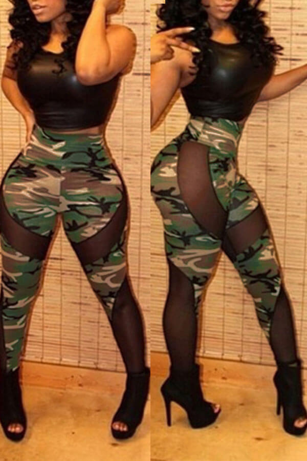 Lovely Casual Patchwork Camouflage Printed Pants(Hight Elastic)