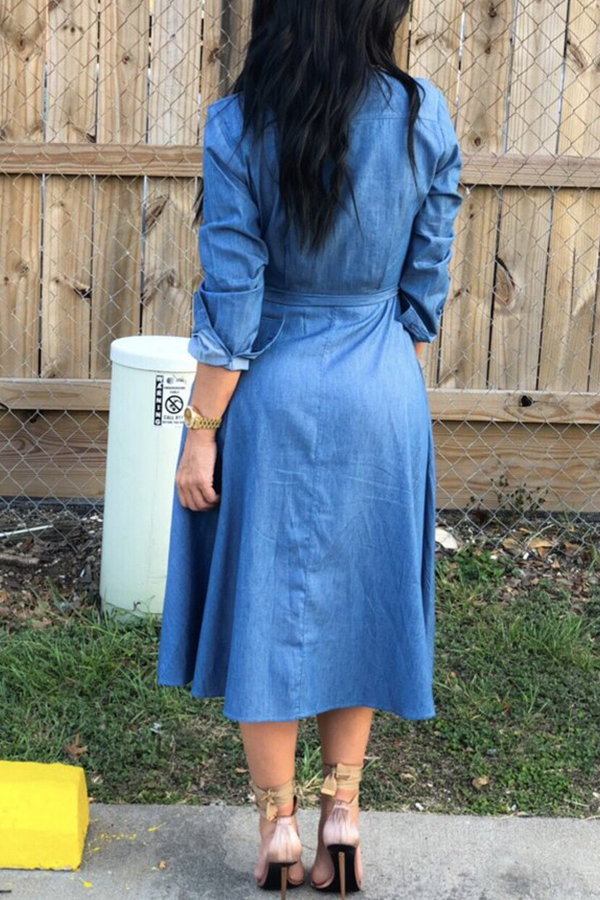 Lovely Casual Turndown Collar Lace-up Baby Blue Mid Calf Dress