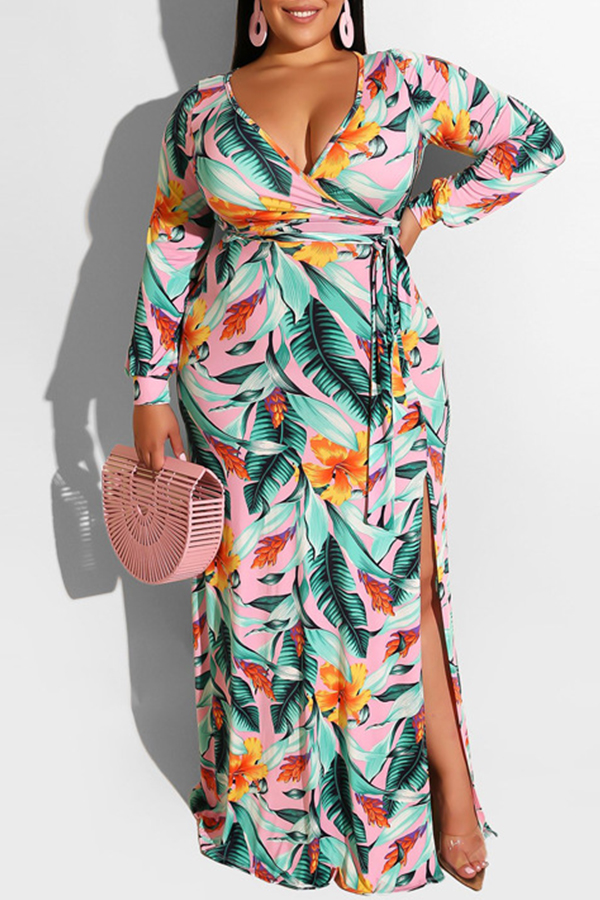 Lovely Casual Printed Green Floor Length Plus Size Dress