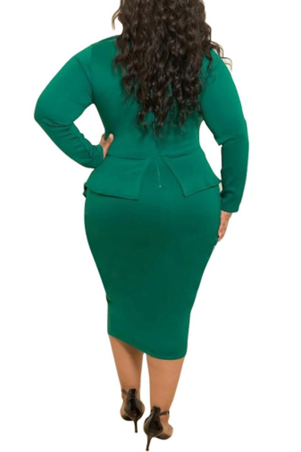 Lovely Trendy Flounce Design Deep Green Knee Length Plus Size Dress