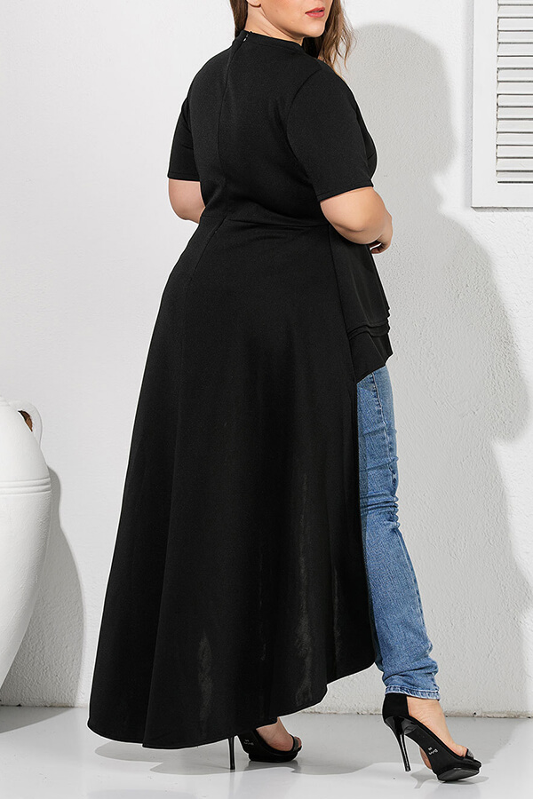 Lovely Casual Asymmetrical Black Plus Size Blouse