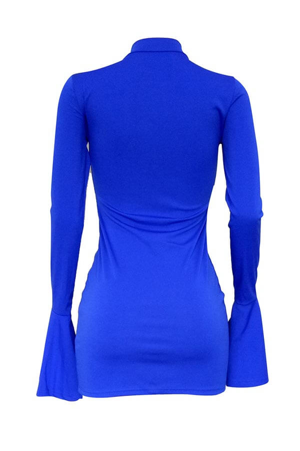 Lovely Trendy Half A Turtleneck Blue Mini Dress