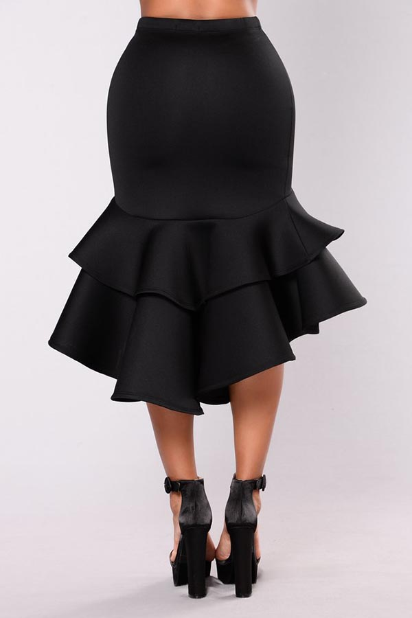Lovely Trendy Flounce Design  Black Knee Length Skirt