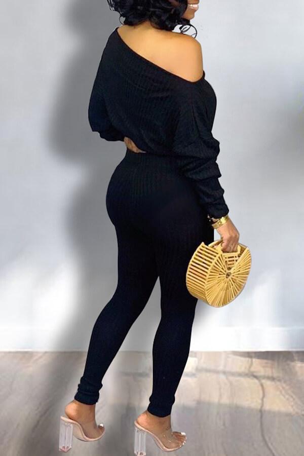 Lovely Trendy Dew Shoulder Black Two-piece Pants Set