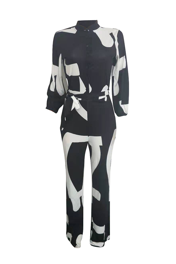 Lovely Casual Printed Black One-piece Jumpsuit