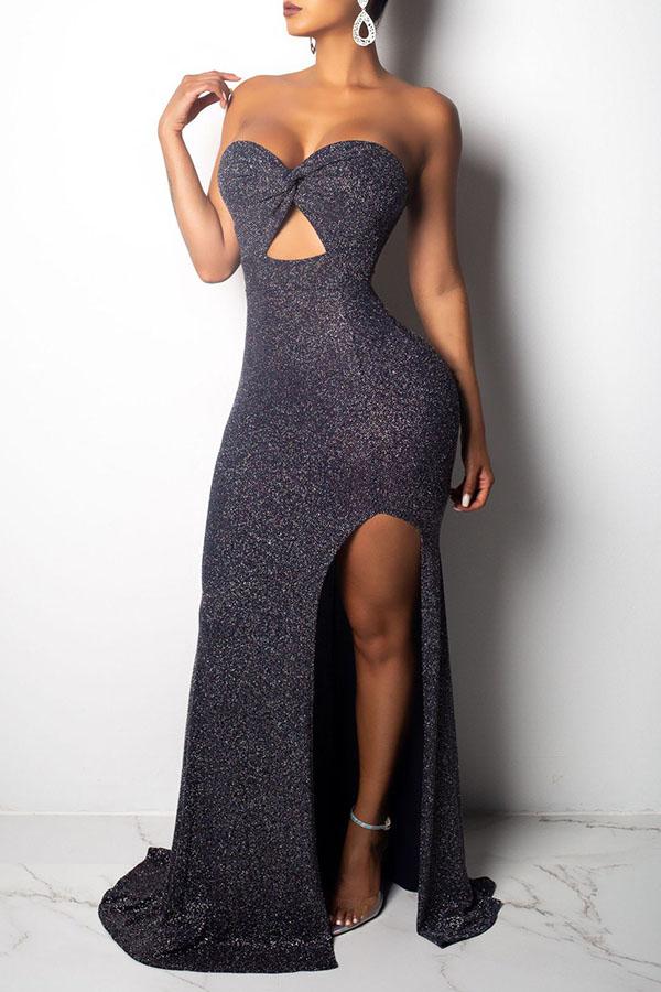 Lovely Party Side High Slit Black Trumpet Mermaid Dress