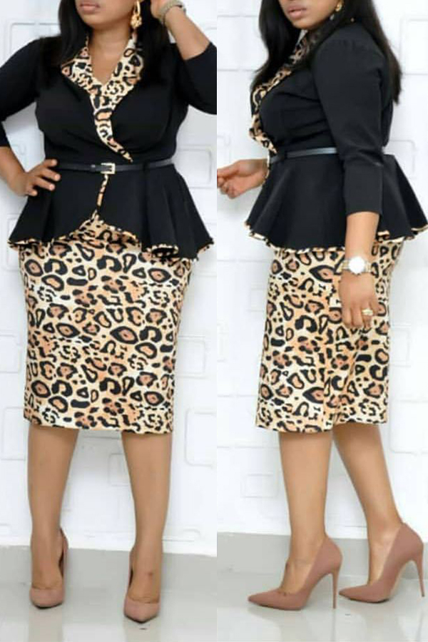 Lovely Trendy Basic Leopard Printed Black Plus Size Two-piece Skirt Set