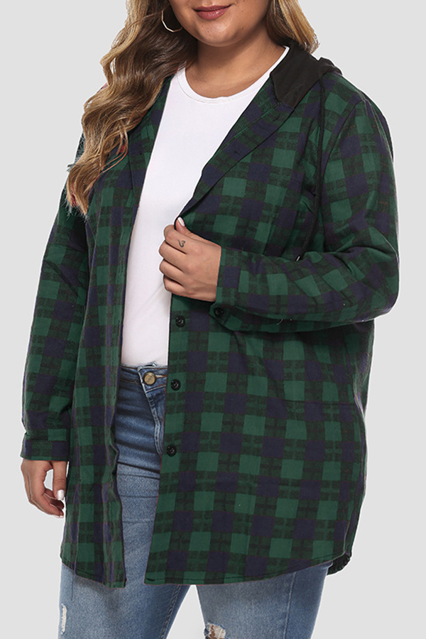 Lovely Casual Hooded Collar Plaid Printed Green Plus Size Coat