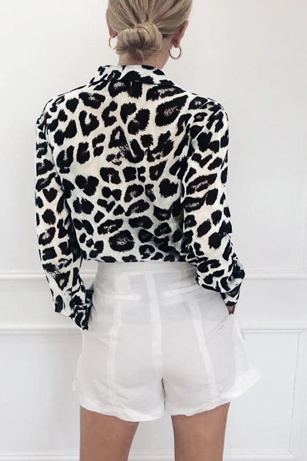 Lovely Work Leopard Printed White Blouse
