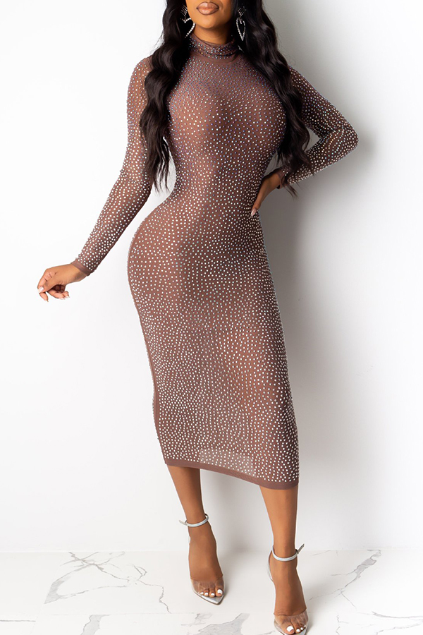 Lovely Sexy Half A Turtleneck Hot Drilling Decorative Apricot Mid Calf Dress