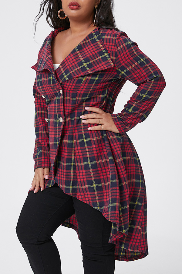 Lovely Casual Plaid Printed Red Plus Size Coat