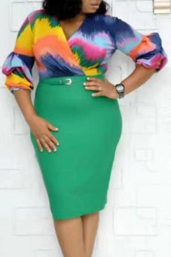 Lovely Casual Gradual Change Printed Green Knee Length Plus Size Dress