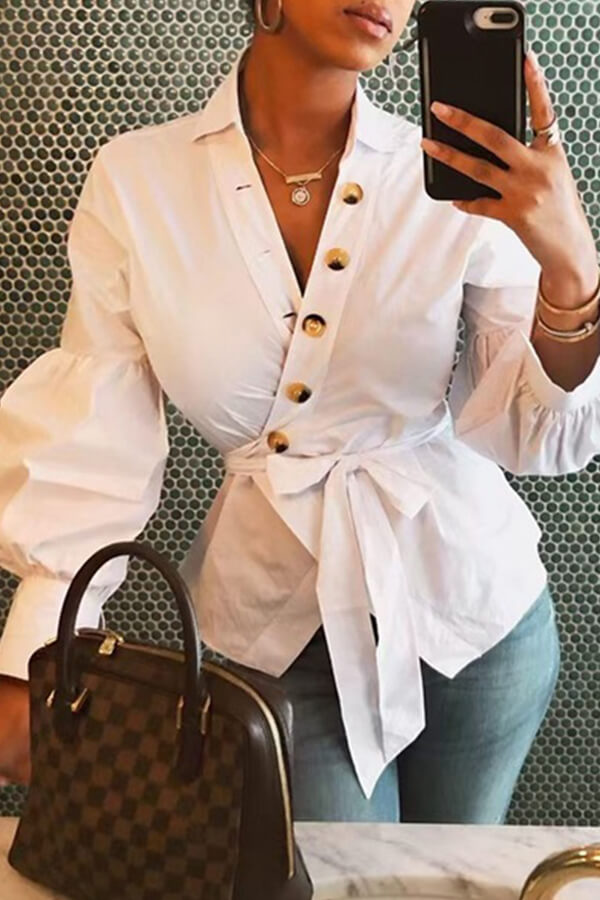 Lovely Trendy Buttons Design White Blouse