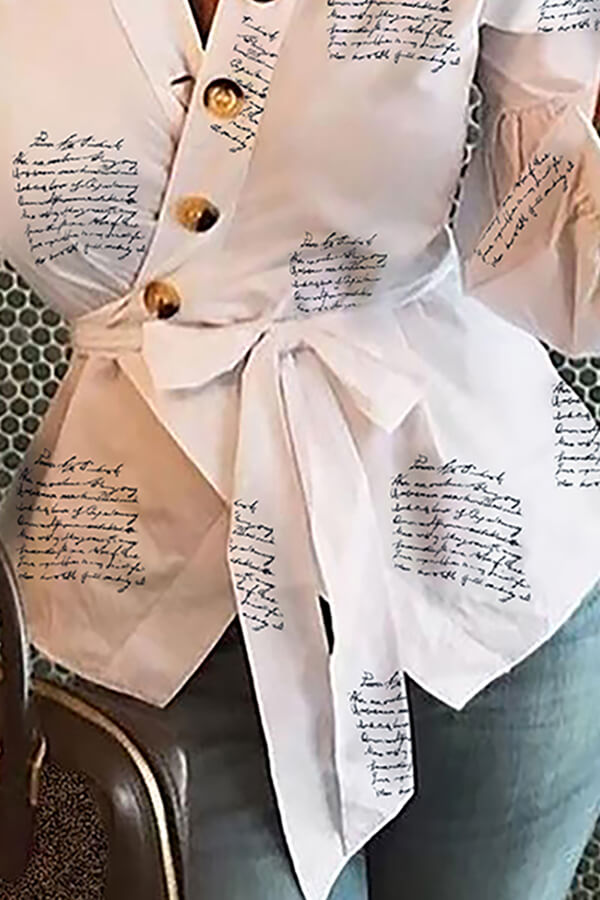 Lovely Work Buttons White Blouse
