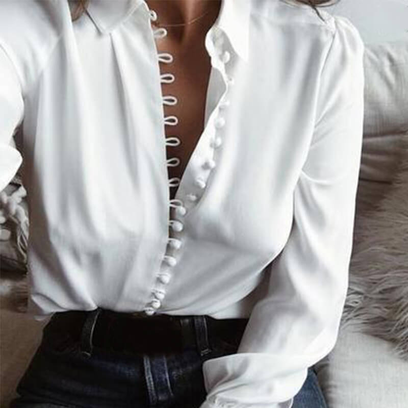 Lovely Trendy Turndown Collar Buttons Design White Blouse