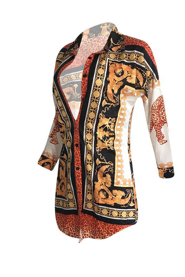 Lovely Casual Printed Multicolor Mini Shirt Dress(Without Belt)