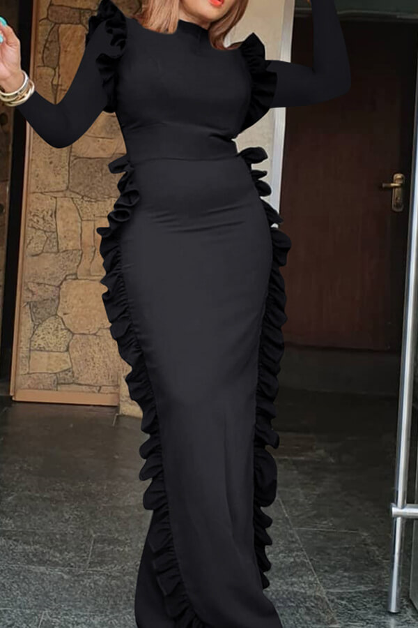 Lovely Casual Flounce Design Black Floor Length Dress
