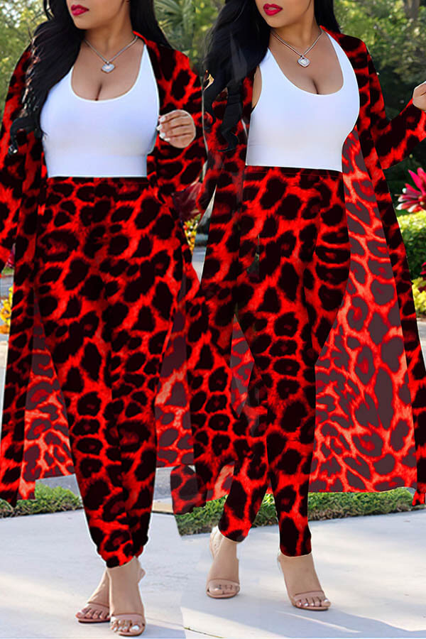 Lovely Casual Leopard Printed Red Plus Size Two-piece Pants Set(Without Tank Top)