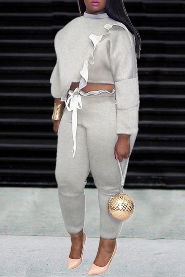 Lovely Trendy Flounce Design Grey Two-piece Pants Set