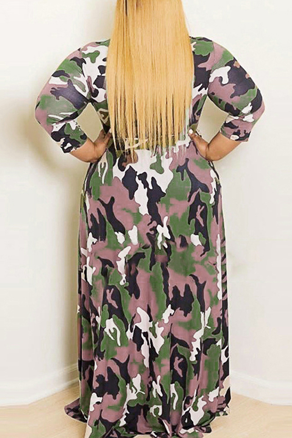 Lovely Casual O Neck Camouflage Printed Army Green Floor Length Plus Size Dress