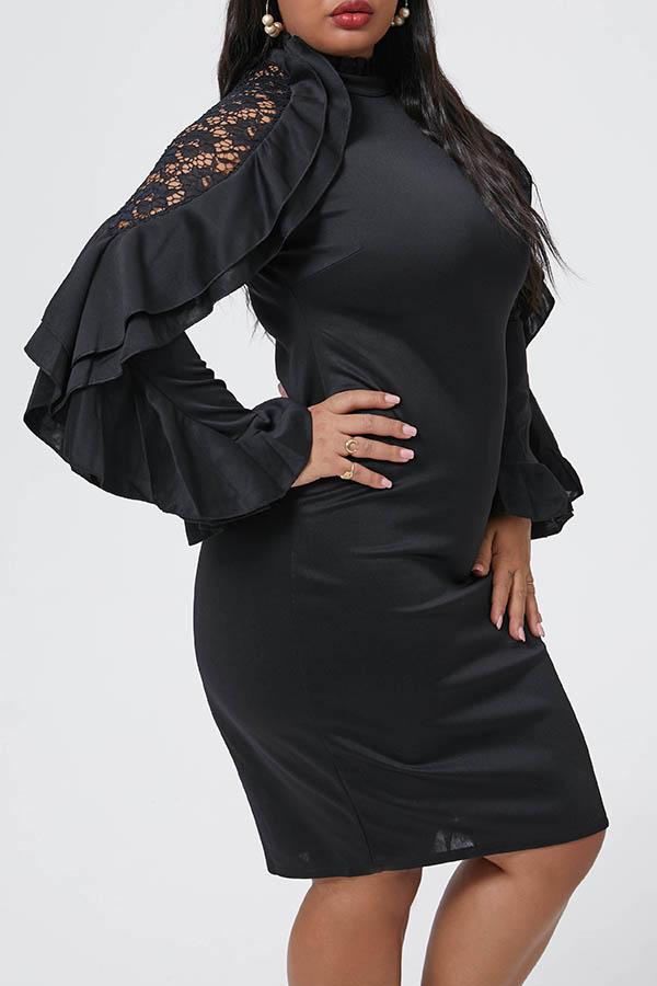 Lovely Casual Half A Turtleneck Black Mini Plus Size Dress