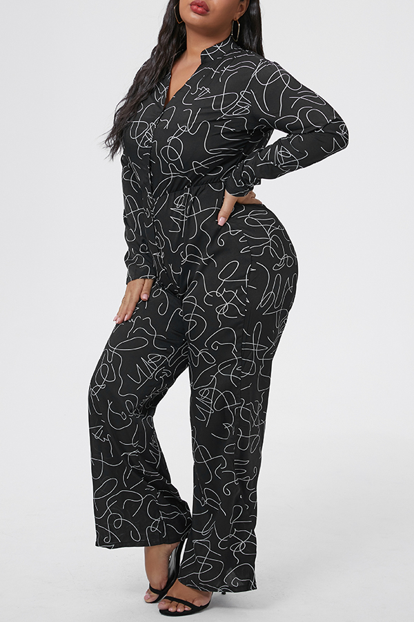 Lovely Casual Printed Black Plus Size One-piece Jumpsuit