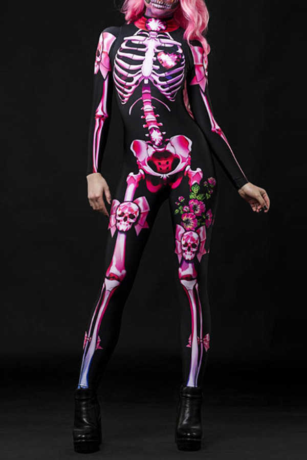 Lovely Cosplay Skull Printed Pink One-piece Jumpsuit