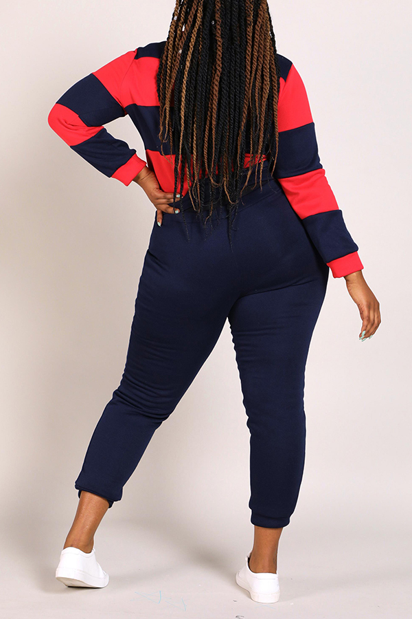 Lovely Casual Striped Navy Blue Plus Size Two-piece Pants Set