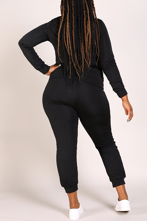 Lovely Casual Broken Holes Black Plus Size Two-piece Pants Set