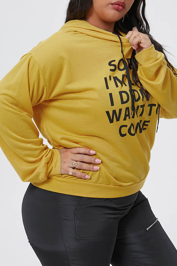 Lovely Casual Letter Printed Yellow Plus Size Hoodie