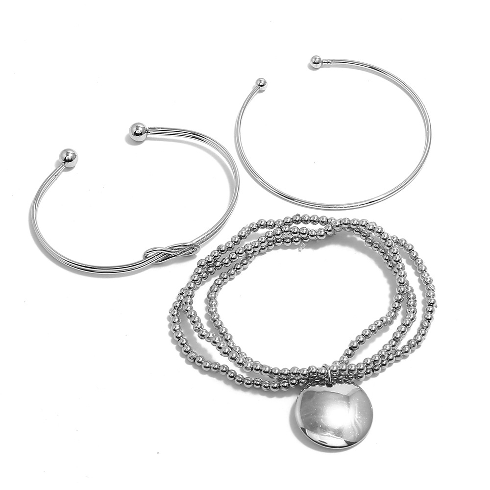 Lovely Trendy Three-piece Silver Alloy Bracelet