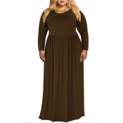 Lovely Casual O Neck Loose Coffee Floor Length Plus Size Dress
