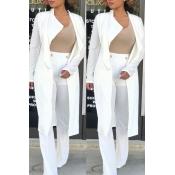 Lovely Trendy Lapel White Long Blazer