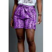 Lovely Casual Printed Lace-up Purple Shorts
