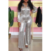 Lovely Casual Buttons Decorative Silver One-piece