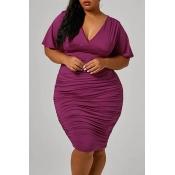 Lovely Chic Ruffle Design Purple Knee Length Plus